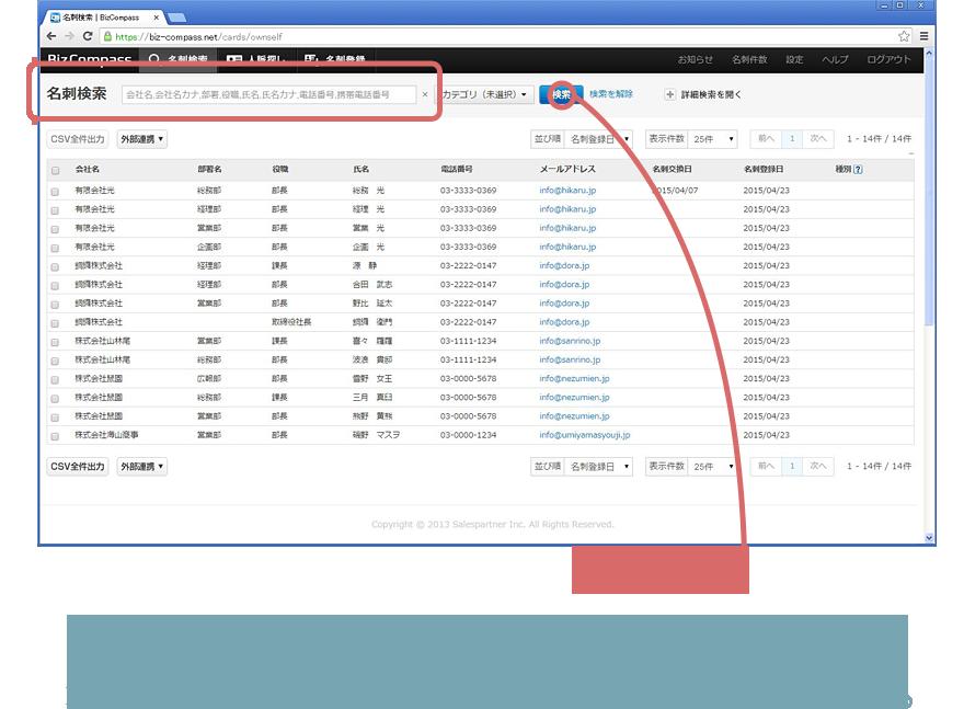 検索条件を入れて検索すると、 条件にマッチした名刺がすぐ表示されます。